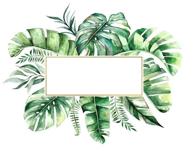 水彩の熱帯の葉の幾何学的な黄金のフレーム