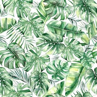 水彩の熱帯の葉の継ぎ目パターンが分離