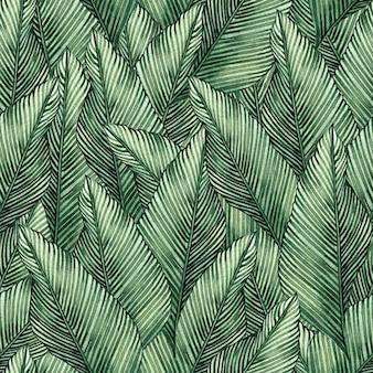 水彩トロピカル葉のシームレスなパターン背景。
