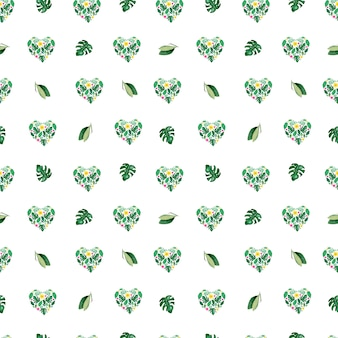 Watercolor tropical leaves seamless pattern. heart floral form .