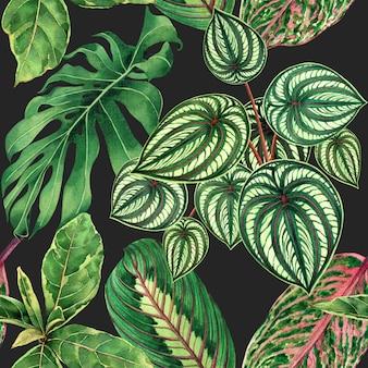 手描きの手のひらで水彩の熱帯自然の背景の葉のシームレスなパターン背景。