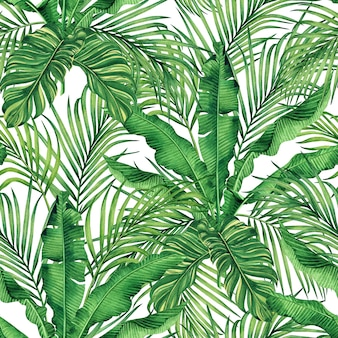 Watercolor tropical nature background with hand drawn palm leaves seamless pattern