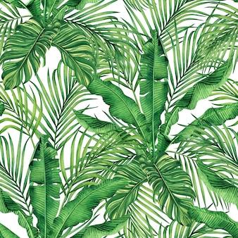 手描きのヤシと水彩の熱帯自然の背景の葉のシームレスなパターン
