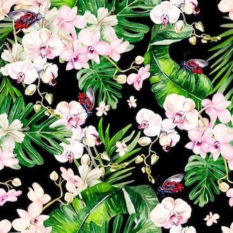 葉と蘭が水彩の熱帯シームレスパターン