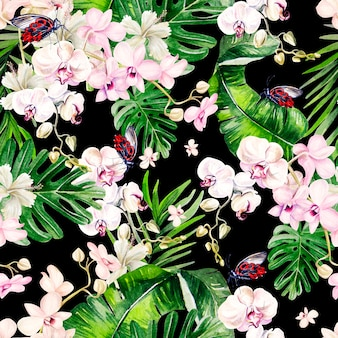 Watercolor tropical seamless pattern with leaves and orchids