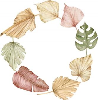 水彩トロピカルリース。乾燥したヤシの葉のフレーム。エキゾチックなイラスト。