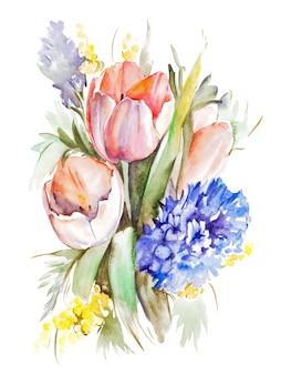 Watercolor tulips bouquet