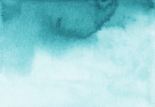 Watercolor turquoise and white gradient background texture. aquarelle liquid abstract blue backdrop. hand painted