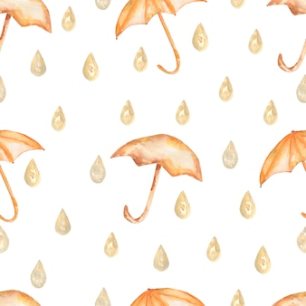 Watercolor umbrella with raindrops seamless pattern.