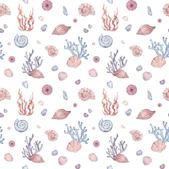 水彩の海底シームレスパターン。貝殻、海藻、小石のある海の自然。手描きイラスト。