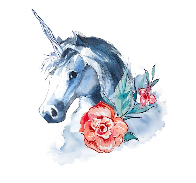 Watercolor unicorn design isolated on a white background.