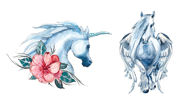 Watercolor unicorn design set isolated on a white background.