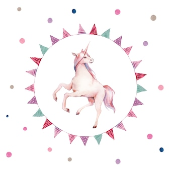 Watercolor unicorn in flag garlands wreath. hand painted fairytale illustration with fantasy animal, polka dots and party decor on white background. cartoon baby art