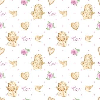 천사, 장미와 하트 수채화 발렌타인 배경
