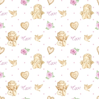 Watercolor valentine's day background with angels, roses and hearts