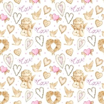 천사, 날개와 하트 수채화 발렌타인 배경.