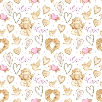 Watercolor valentine's day background with angels, wings and hearts.