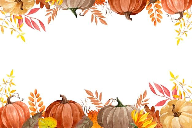 Осенняя рамка акварель вектор с тыквами, красочные осенние листья, сухие веточки и подсолнухи