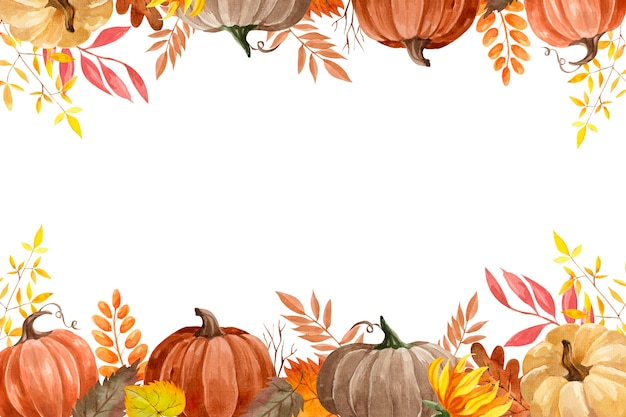 Watercolor vector autumn frame with pumpkins, colorful autumn leaves, dry twigs and sunflowers