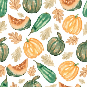 Watercolor vegetable seamless pattern