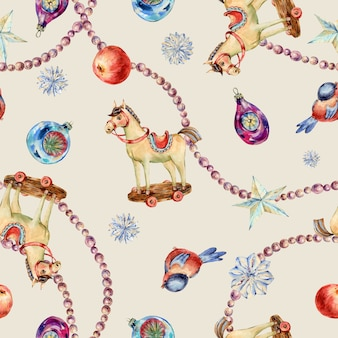 Watercolor vintage christmas toys seamless pattern. wooden horse, star, red apple, pearl garland beads texture