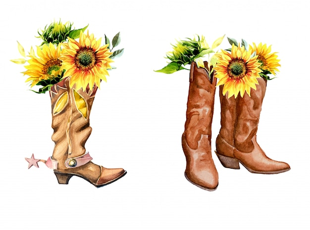 Watercolor vintage cowboy boots with sunflowers