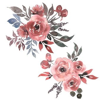 Акварель винтаж грязный розовый пион картинки набор. букет коралловых цветов. акварель цветочные композиции иллюстрации. композиции из серой зелени.