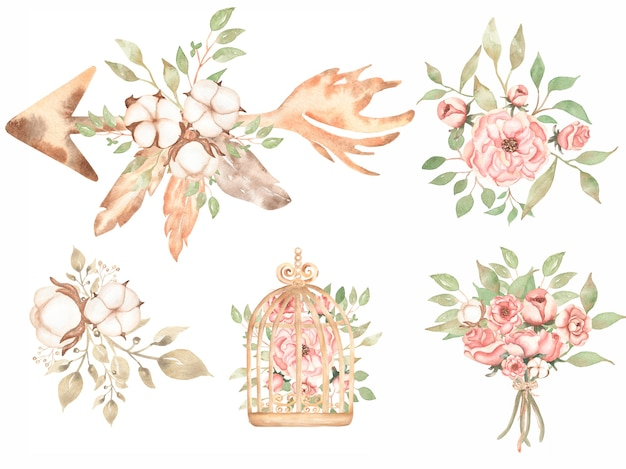 Watercolor vintage floral bouquet clipart - delicate pink peony clipart, cotton, coral flower, rose, fall greenery, autumn herbs in bird cage, wedding invites Premium Photo