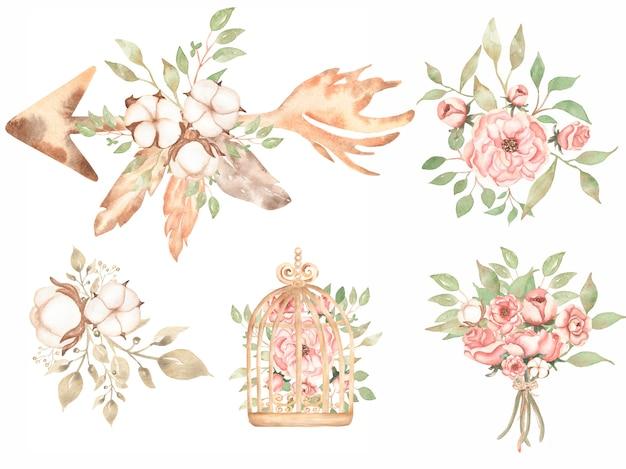 水彩画のヴィンテージフローラルブーケクリップアート-繊細なピンクの牡丹クリップアート、綿、珊瑚の花、バラ、秋の緑、鳥かごの中の秋のハーブ、結婚式の招待状