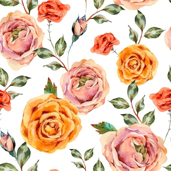 Watercolor vintage floral seamless pattern with roses, leaves and buds