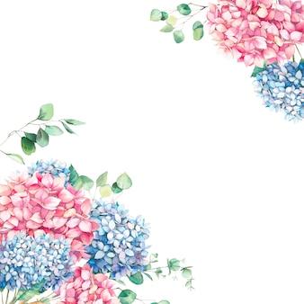 アジサイとユーカリの葉の水彩画のビンテージフレーム。手描きの花の要素、ピンクとブルーの花と花の背景。ガーデンスタイルの招待状のデザイン