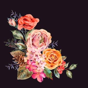 ローズ、アジサイ、松ぼっくり、赤い果実、野生の花と水彩のビンテージグリーティングカード。