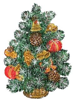 白い背景で隔離のバスケットの弓のボールの鐘の水彩ヴィンテージイラストクリスマスツリー
