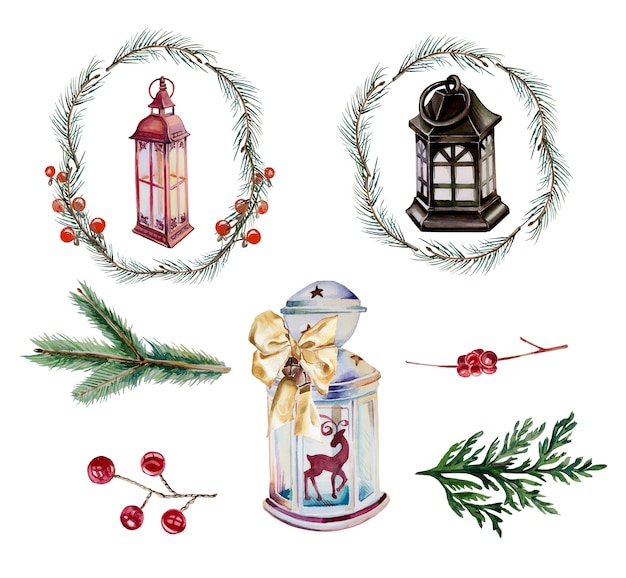 水彩ビンテージランタンとクリスマスリースクリップアートセット分離。手塗りのクリスマスランタンとモミの枝のデザインセット。