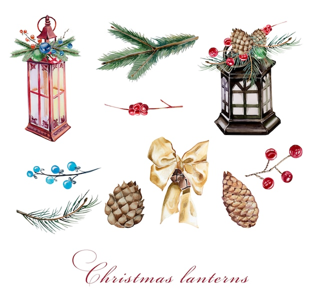 Watercolor vintage lantens clipart set isolated. handpainted christmas lanterns, bow and fir branches design set.