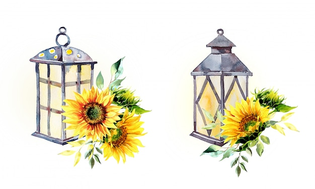 Watercolor vintage lantern with sunflowers arrangements isolated