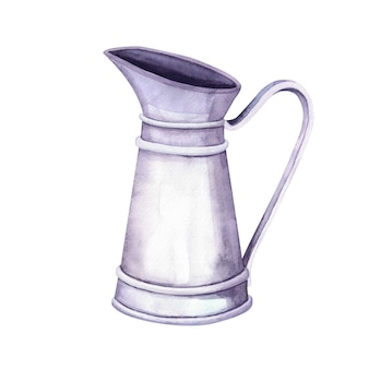 Watercolor vintage metal pitcher on white background. farm and garden interior decoration for flower