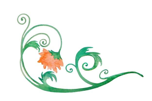 水彩ヴィンテージオレンジ色の花