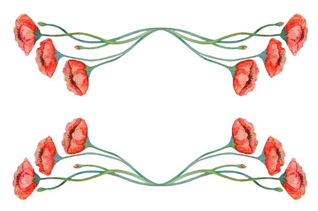 수채화 빈티지 빨간 양 귀 비 테두리
