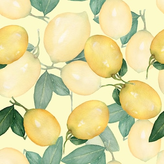 Watercolor vintage  seamless pattern, branch of fresh citrus yellow fruit lemon