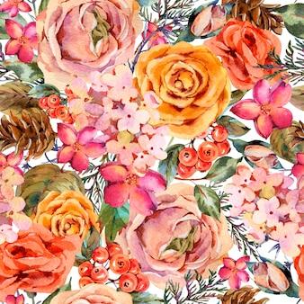 ローズ、アジサイ、松ぼっくり、赤い果実、野生の花と水彩のビンテージシームレスパターン。