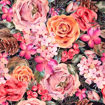 Watercolor vintage seamless pattern with rose, hydrangea, pinecones, red berries and wildflowers.