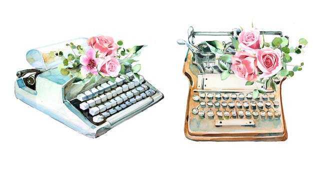 Watercolor vintage typewriter with flowers designs. retro type machine illustration. writer supplies.