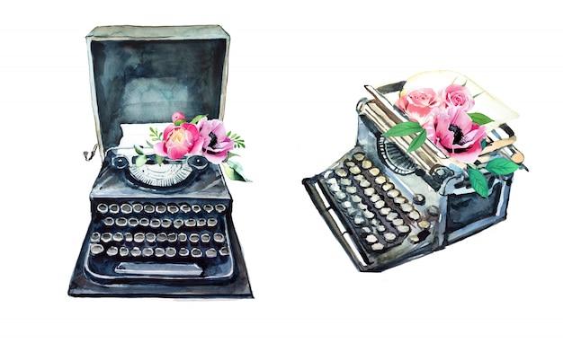 꽃 디자인 수채화 빈티지 타자기입니다. 레트로 유형 기계 그림입니다. 작가 용품.