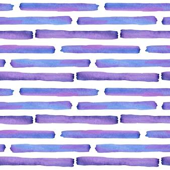 水彩の紫と青のストライプのシームレス パターン。