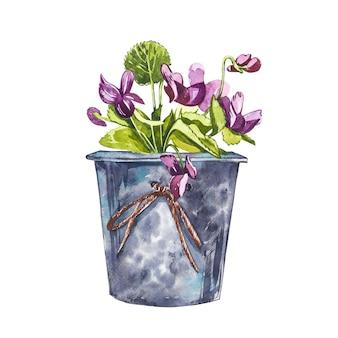 화분에 수채화 보라색 꽃입니다. 손은 흰색 바탕에 수채화 그림을 그립니다. 부활절 컬렉션.