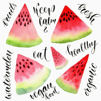 Watercolor watermelon slice set with calligraphy texts. watercolor painting illustration