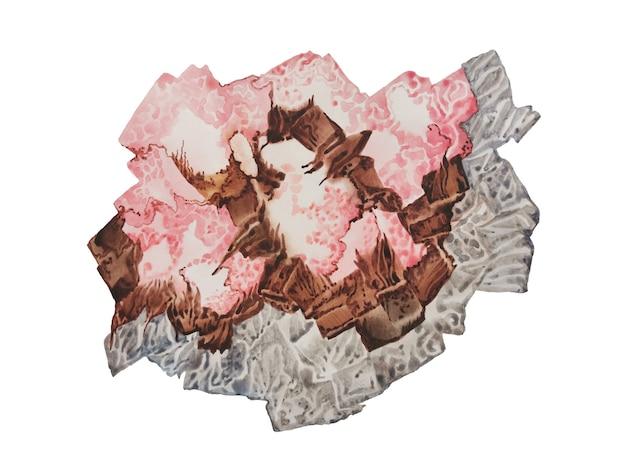 水彩ウェットブラシスミアグレーピンクブラウン自然オーガニックコンセプト手描き紙テクスチャステインカラー...