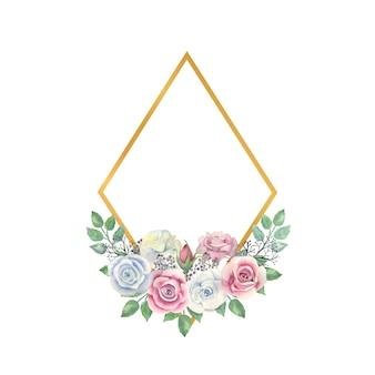 水彩画の白とピンクのバラの花緑の葉ベリーゴールドダイヤモンド形のフレーム