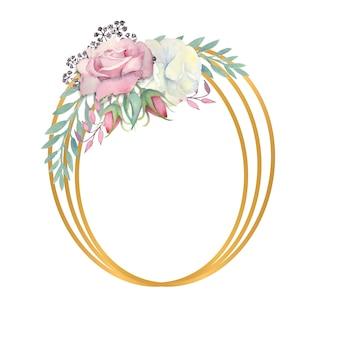 水彩画の白とピンクのバラの花緑の葉の果実を金の楕円形のフレームに